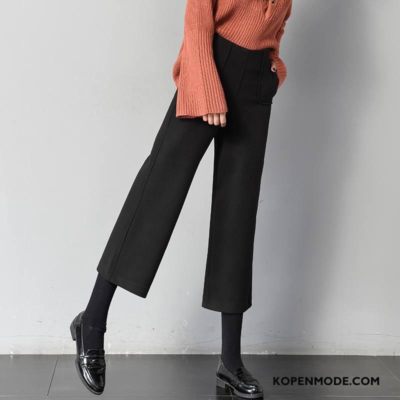 Broeken Dames Straat Zoet 2018 Elegante Vers Trend Effen Kleur Zwart
