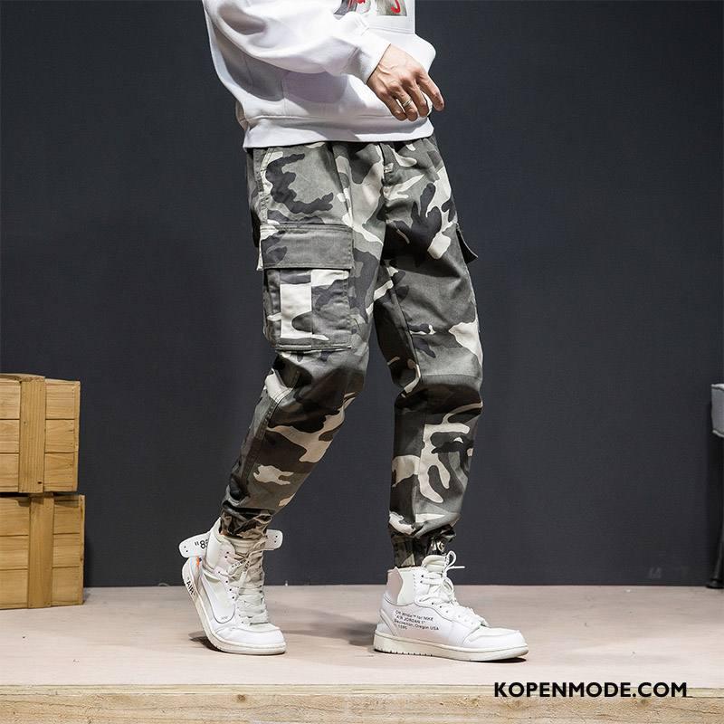 Broeken Heren Katoen Mannen Casual Broek Nieuw Camouflage Wit
