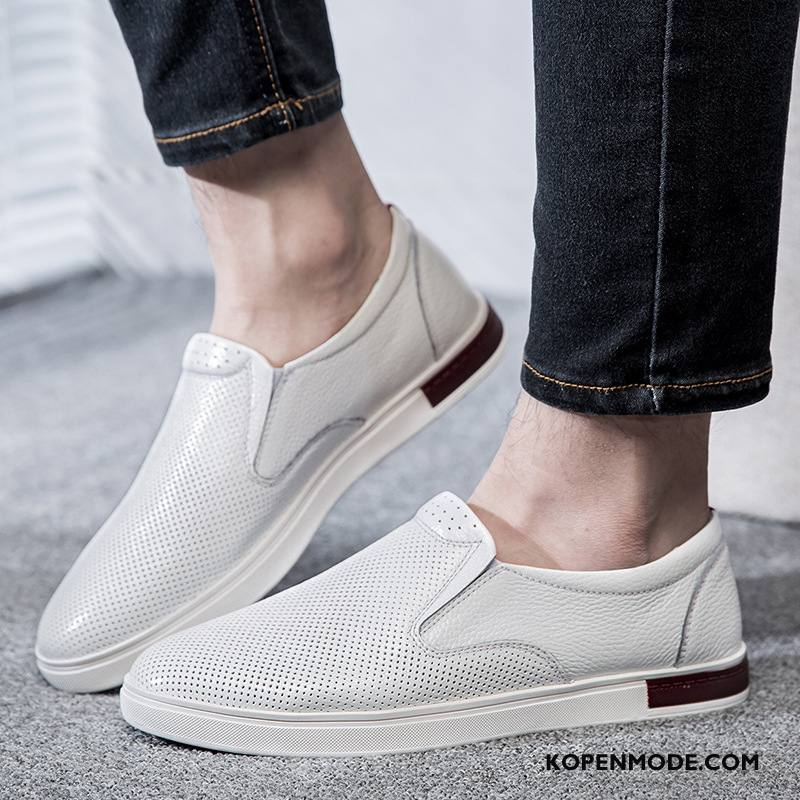 Casual Schoenen Heren Echt Leer Skateboard Schoenen Mode Loafers Mannen Trend Wit Zwart