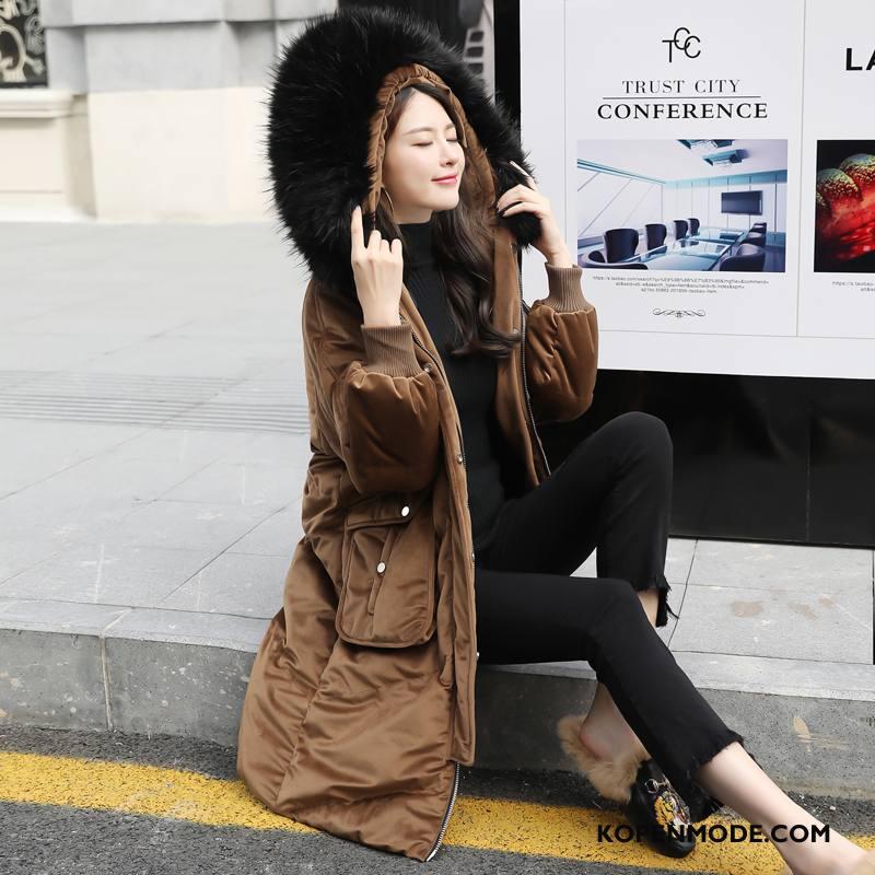 Donsjassen Dames Casual Hoge Donsjack Elegante Winter Trend Karamel Kleur Effen Kleur