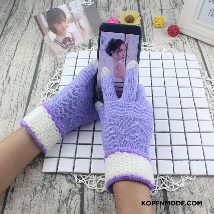 Handschoenen Dames Breien Bloemen Blijf Warm Kasjmier Winter Touchscreen Purper Licht
