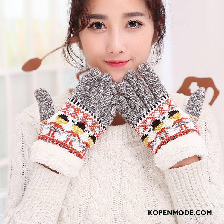 Handschoenen Dames Wollen Breien Winter Herfst Pluche Cartoon Grijs Donker