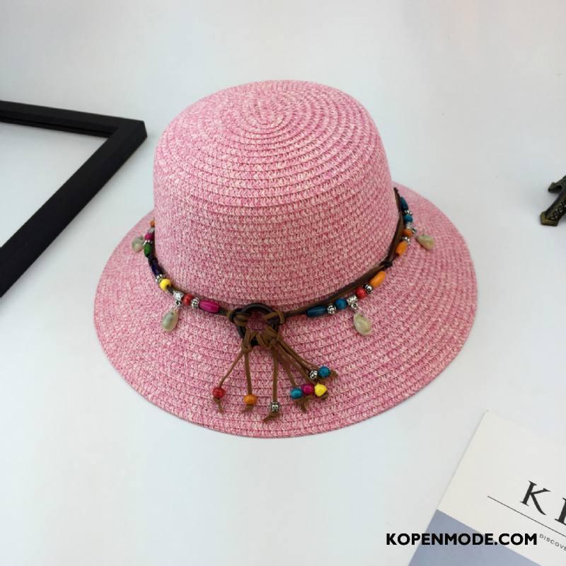 Hoeden Dames Zomer Alle Wedstrijden Zonnebrandcrème Etnische Zonnehoeden Strohoed Zandkleur Roze