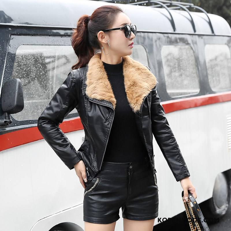 Leren Jassen Dames Slim Fit Winter Dunne Elegante Kort 2018 Zwart