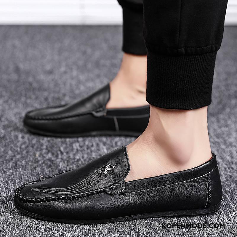 Leren Schoenen Heren Trend Zomer Casual Alle Wedstrijden Mannen Slip On Zwart