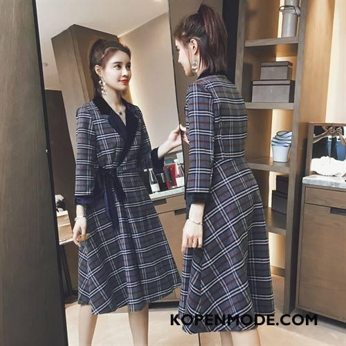 Overjas Dames Mid Taille Jas Wol Mode Decoratie Vlinderdas Geruit Blauw