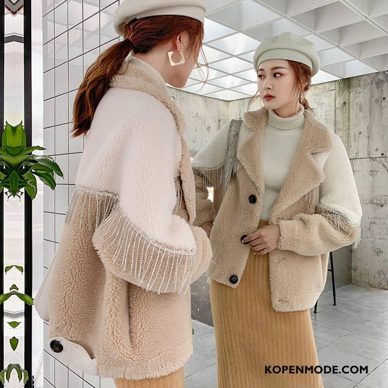 Overjas Dames Zoet Persoonlijk Mode Comfortabele Zacht Warme Gemengde Kleuren Beige