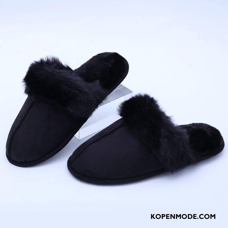 Pantoffels Dames Antislip Vrouw Katoen Winter Kasjmier Effen Kleur Zwart