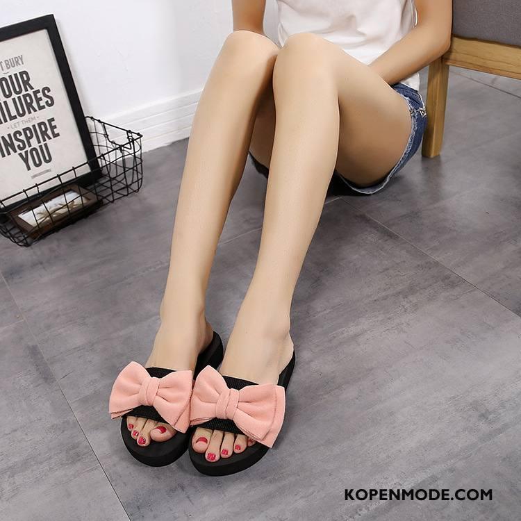 Slippers Dames Pantoffels Bloemen Hete Verkoop Schoenen 2018 Sleehak Zandkleur Roze
