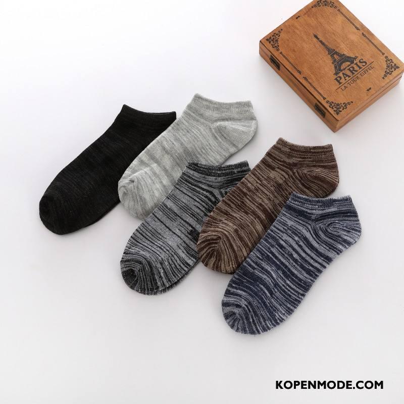 Sokken Heren Vintage Mannen Zomer Voorjaar Korte Sok Boot Sokken Donkerblauw Gemengde Kleuren Licht