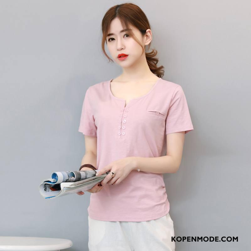 T-shirts Dames Eenvoudige Elegante Mode Trend Zomer Korte Mouw Rode Wijn Effen Kleur