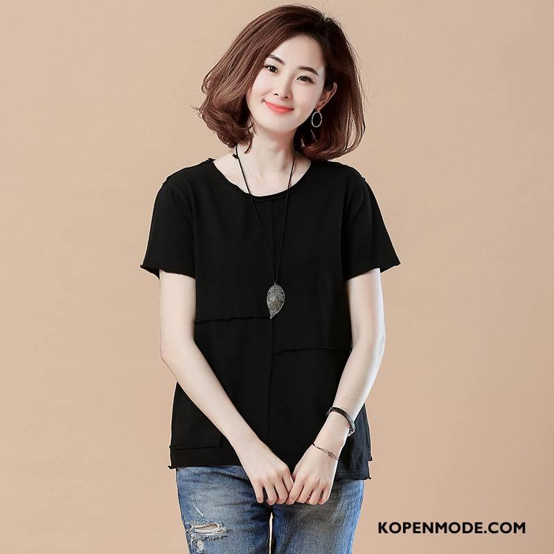 T-shirts Dames Korte Mouw Voorjaar Elegante Trend Stad Jeugd Effen Kleur Kaki