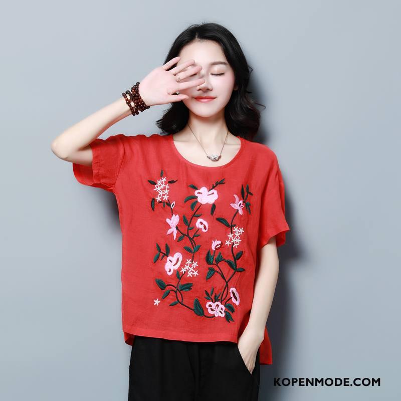 T-shirts Dames Losse Lang Bedrukken 2018 Elegante Zomer Rood