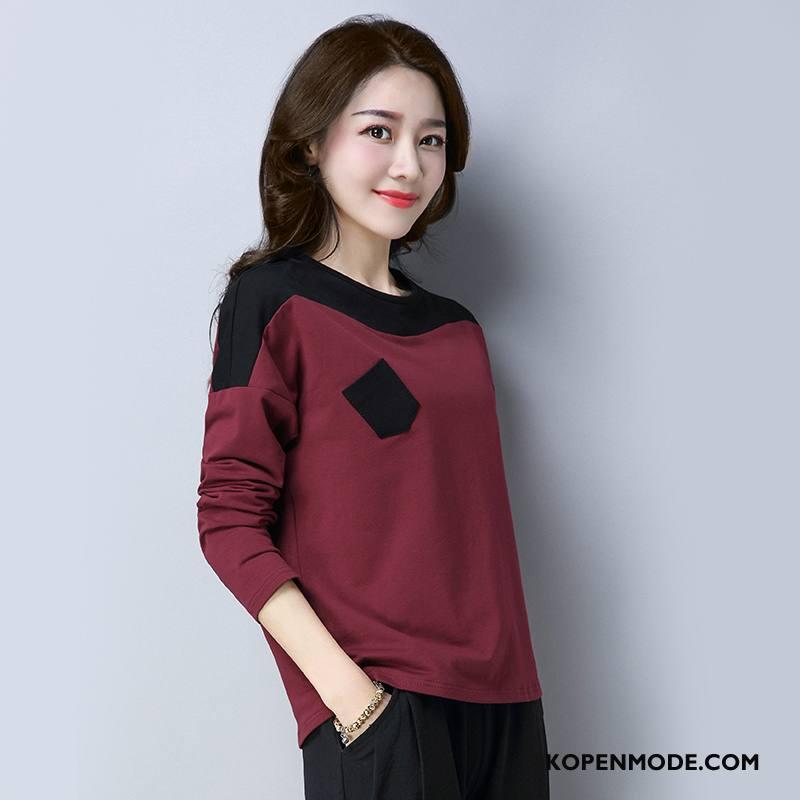 T-shirts Dames Mode Trend Elegante Voorjaar 2018 Katoen Effen Kleur Zwart