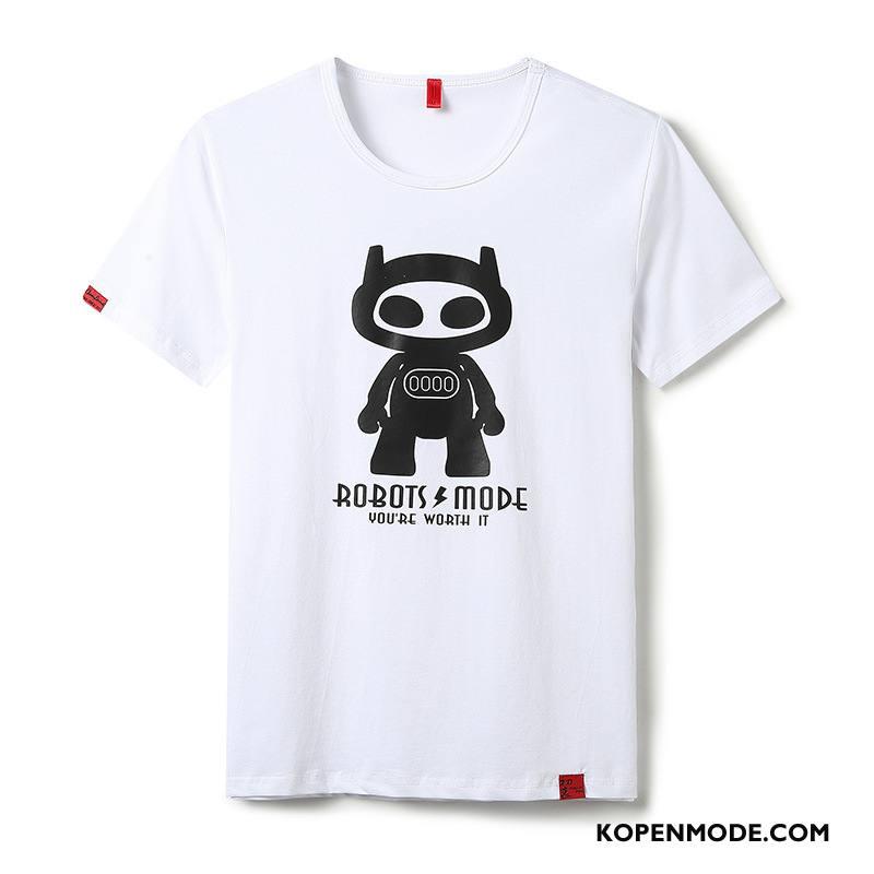 T-shirts Heren Breien Mannen Nieuw Korte Mouw Onderhemd Wit