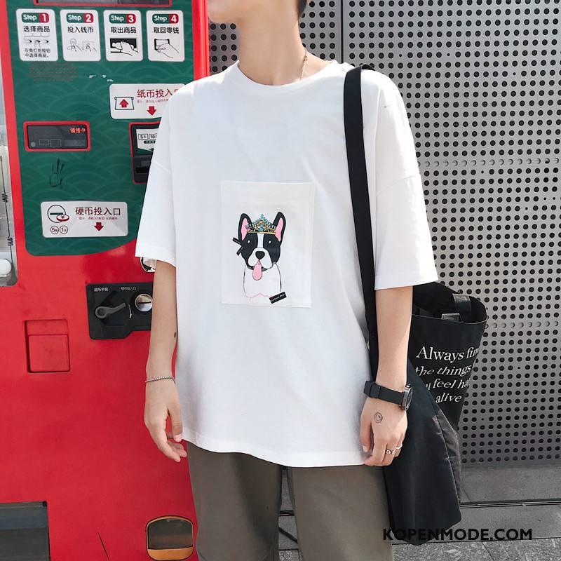 T-shirts Heren Nieuw Mannen Student Trend Halve Mouw Zomer Rood