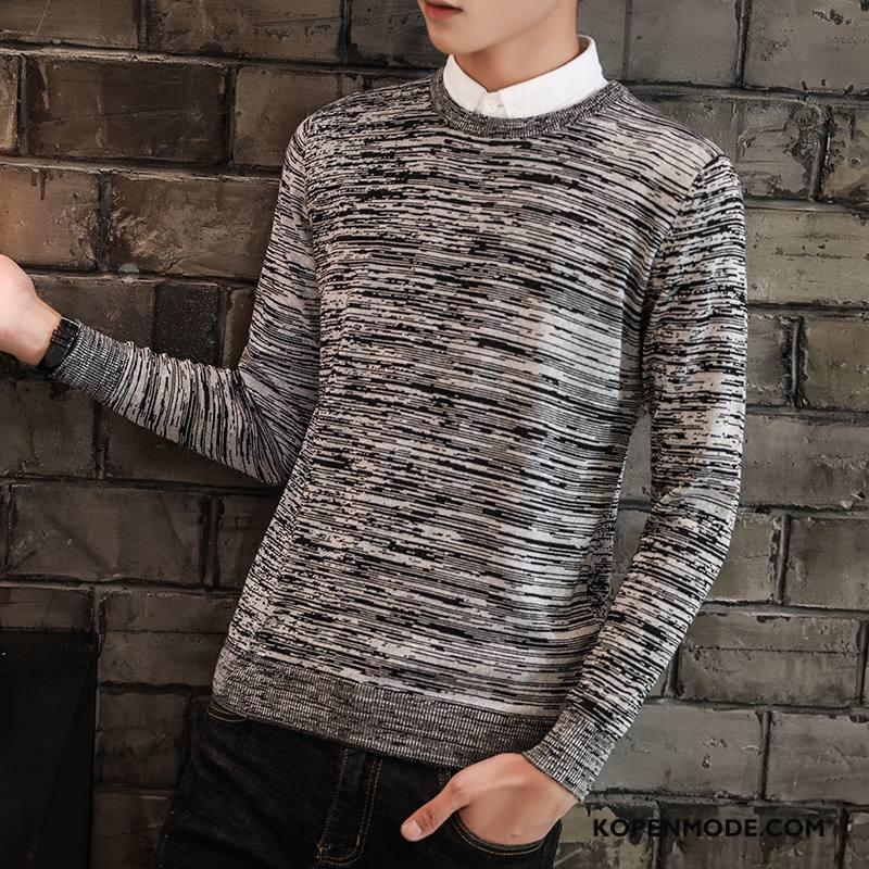 Truien Heren Gebreid Hemd Hoge Kraag Winter Onderhemd Nieuw Dikke Grijs Licht