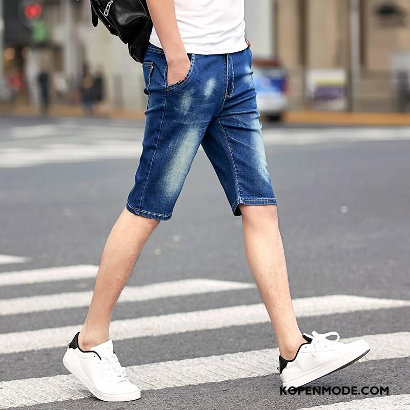 Korte Broek Heren Met Elastiek.Jeans Heren Korte Broek Dunne Elastiek Trend Denim Mannen Blauw Korting
