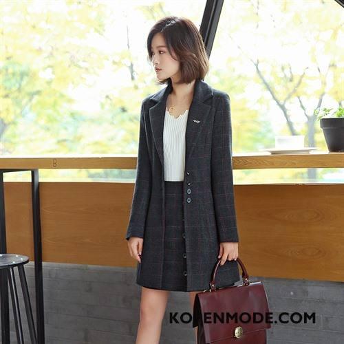 Blazer Dames Een Knopen Voorjaar Lange Mouwen Elegante Trend Mode Effen Kleur Zwart