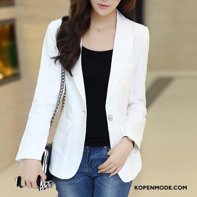 Blazer Dames Mode Elegante Trend Slim Fit Pak Voorjaar Effen Kleur Wit
