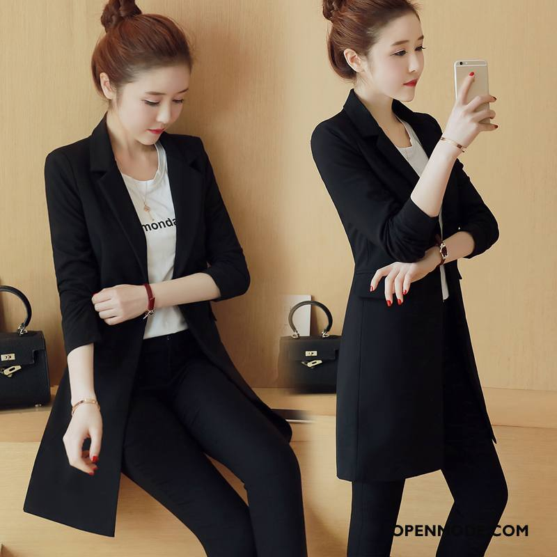 Blazer Dames Mode Herfst Jas Pak Eenvoudige Voorjaar Zwart