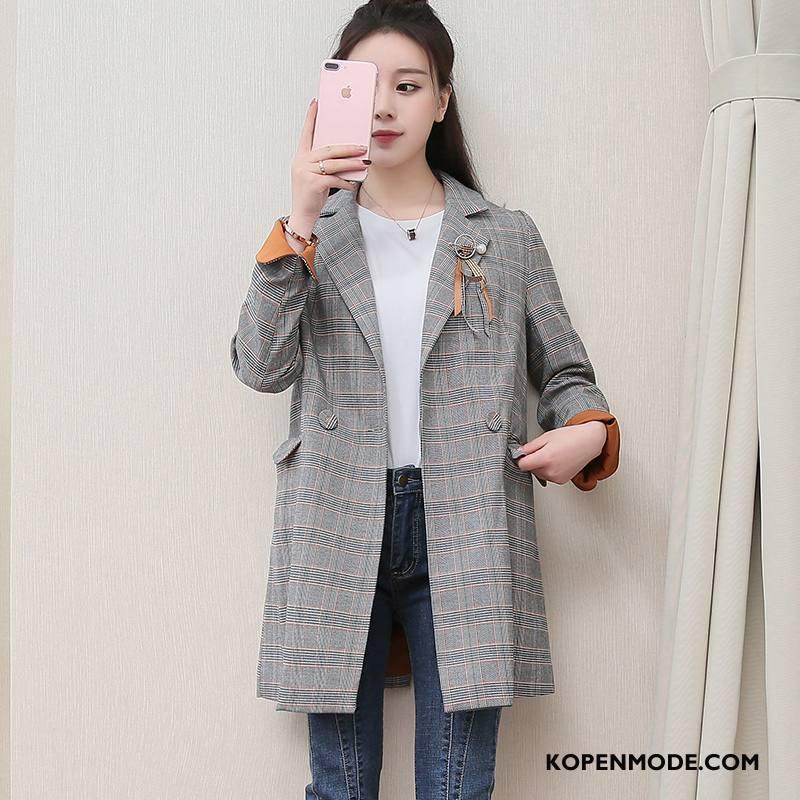 Blazer Dames Trend Mode Dunne Zoet Slim Fit Elegante Grijs