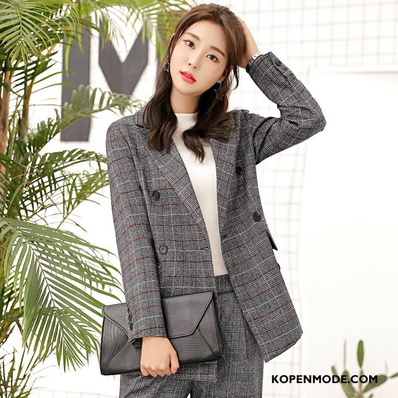 Blazer Dames Voorjaar Elegante Casual Slim Fit Pak Trend Grijs