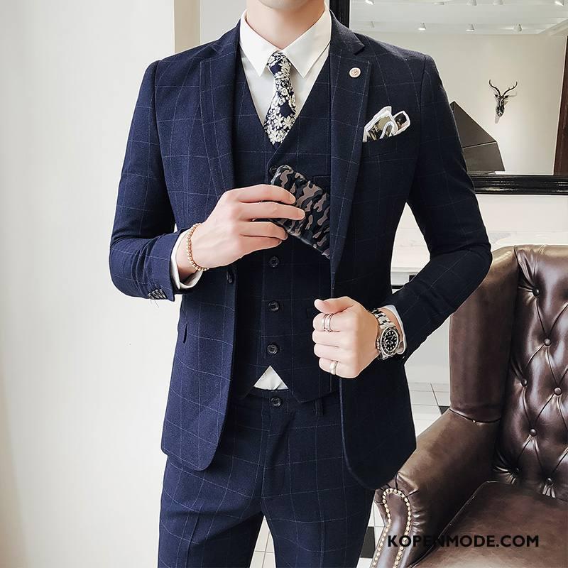 Blazer Heren 2018 Pak Mode Herfst Huwelijk Bruiloft Blauw