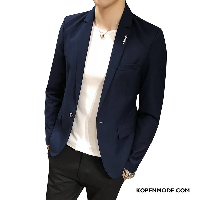 Blazer Heren Casual Trend Voorjaar Pak Mannen Persoonlijk Marineblauw