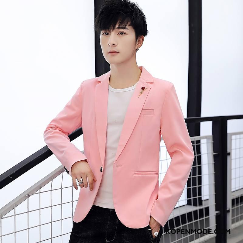 Blazer Heren Jasje Mooi Casual Trend Pak Jasje Slim Fit Roze