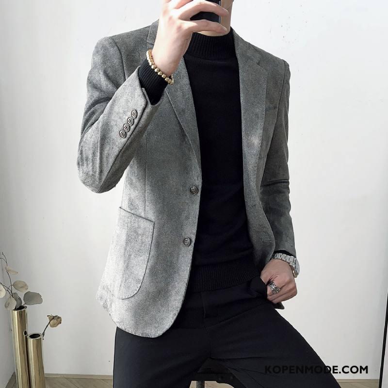 Blazer Heren Pak Jasje Mannen Jeugd Slim Fit Casual Trend Rood Grijs