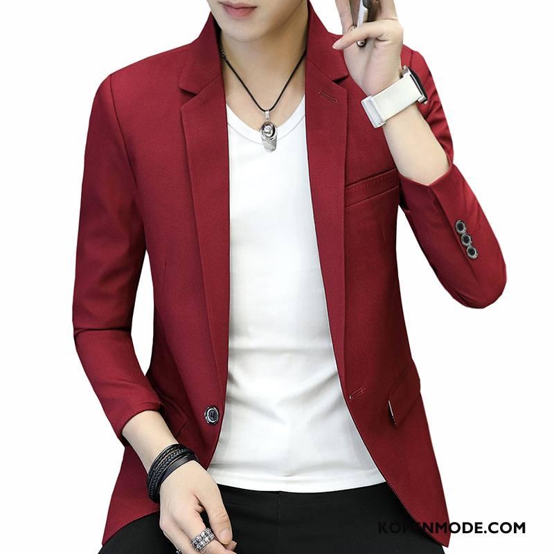 Blazer Heren Slim Fit Voorjaar Mannen Pak Jas Trend Rood