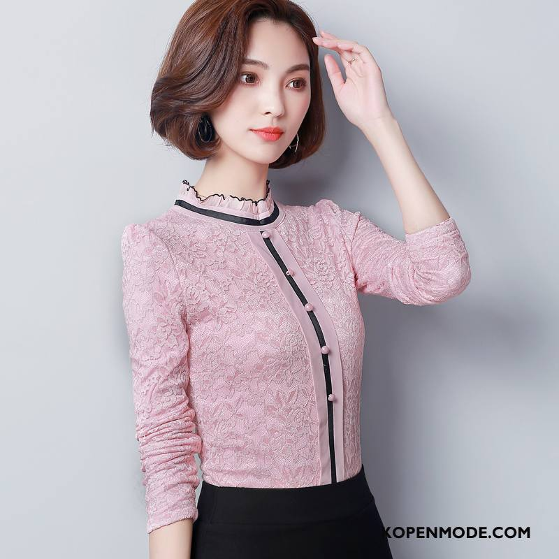 Blouses Dames 2018 Slim Fit Mode Elegante Zoet Eenvoudige Roze