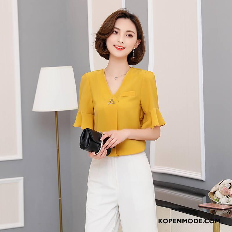 Blouses Dames Chiffon Korte Mouw 2018 Voorjaar Elegante Mode Effen Kleur Geel