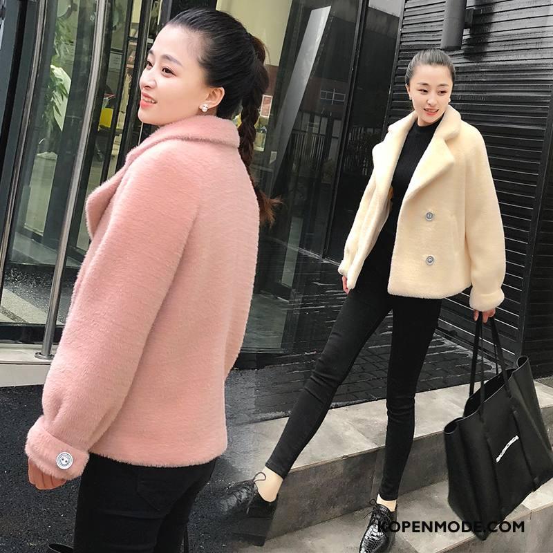 Bontjas Dames 2018 Eenvoudige Dunne Leer Slim Fit Straat Roze Rood