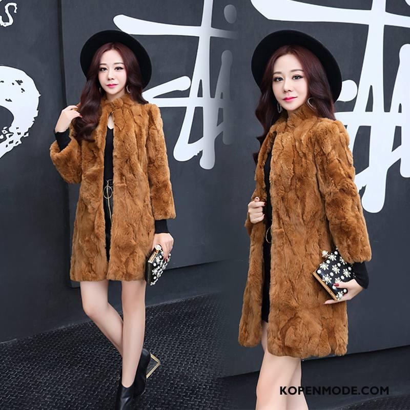 Bontjas Dames Dunne Slim Fit Leer Trend Elegante Eenvoudige Karamel Kleur