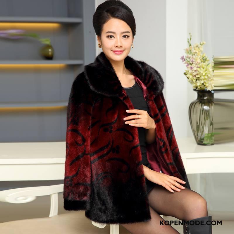 Bontjas Dames Elegante Leer Winter Losse Lang Bloemen Rode Wijn