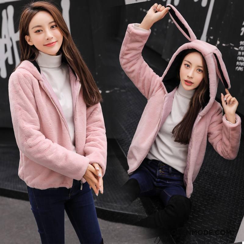 Bontjas Dames Elegante Slim Fit 2018 Trend Straat Mode Effen Kleur Roze