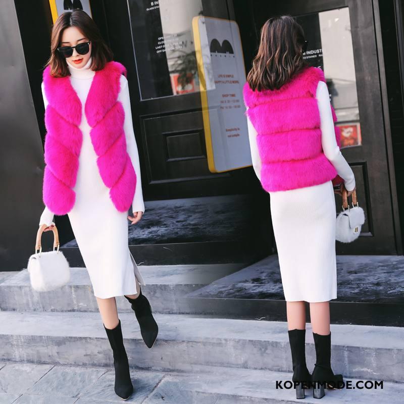 Bontjas Dames Kort Leer Zoet Mode Winter Mouwloos Roze Rood Effen Kleur