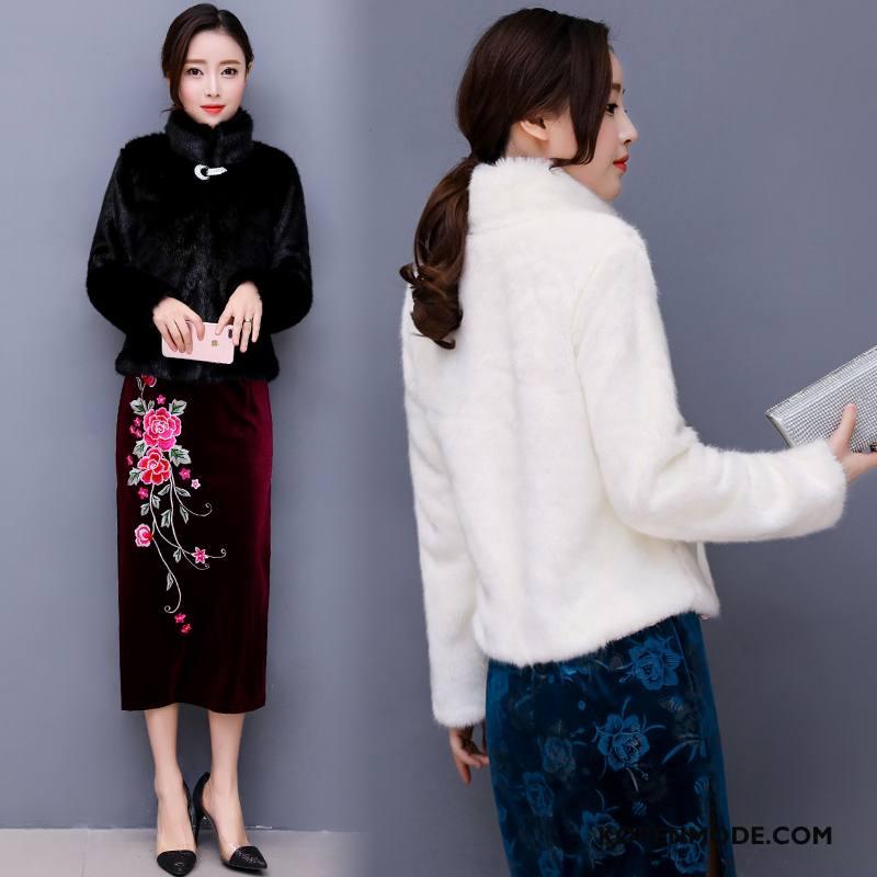 Bontjas Dames Lange Mouwen Winter Elegante Zoet Leer Eenvoudige Wit