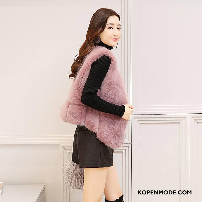 Bontjas Dames Mode Elegante Leer Winter Mouwloos Straat Roze Rood Effen Kleur
