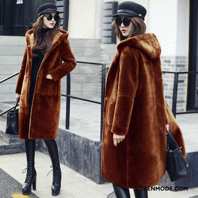 Bontjas Dames Mode Leer Winter 2018 Trend Elegante Karamel Kleur
