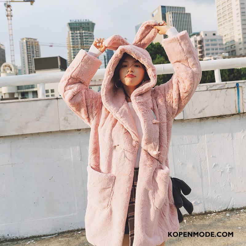 Bontjas Dames Straat Leer Lange Mouwen Mode 2018 Winter Roze Rood
