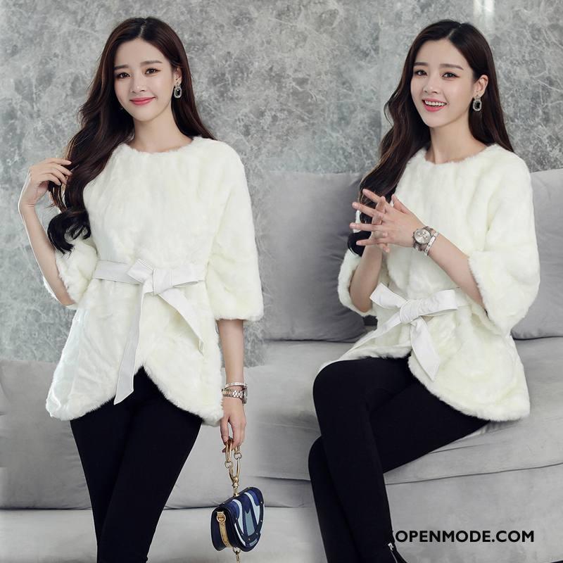 Bontjas Dames Trend Casual Mouw Lang Elegante Leer Wit