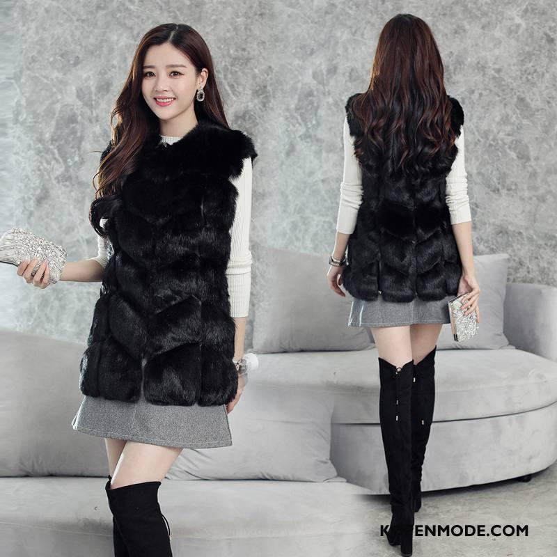Bontjas Dames Winter 2018 Mouwloos Elegante Zuiver Casual Zwart