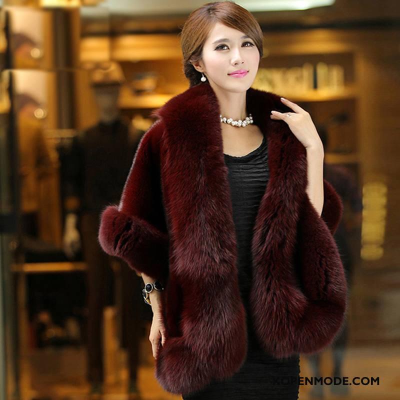 Bontjas Dames Winter Elegante Lang Leer Casual Mouwloos Rode Wijn Effen Kleur
