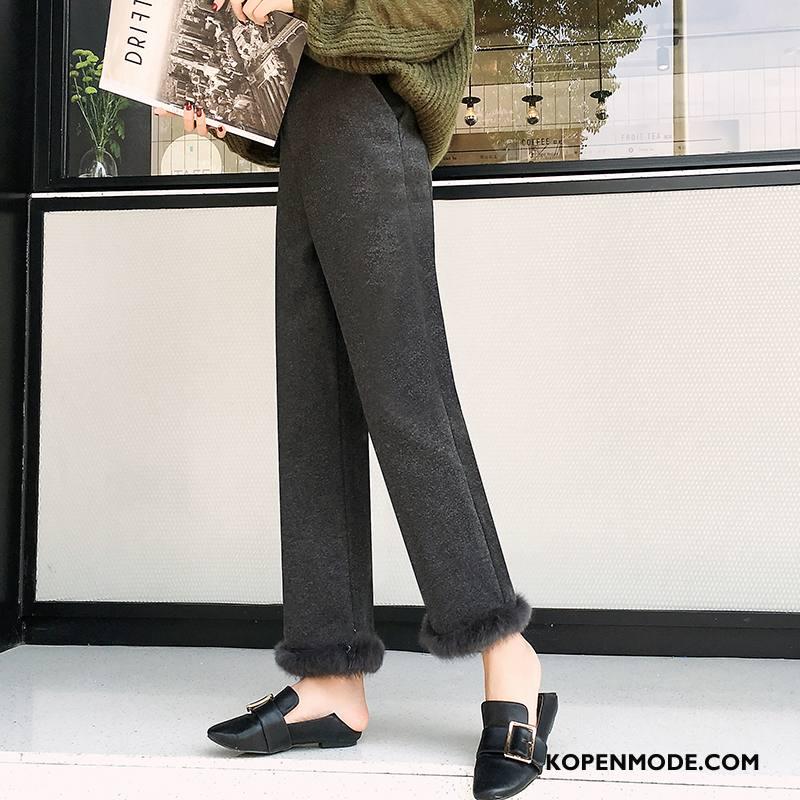 Broeken Dames 2018 Comfortabele Jeugd Dikke Eenvoudige Hoge Taille Grijs Donker