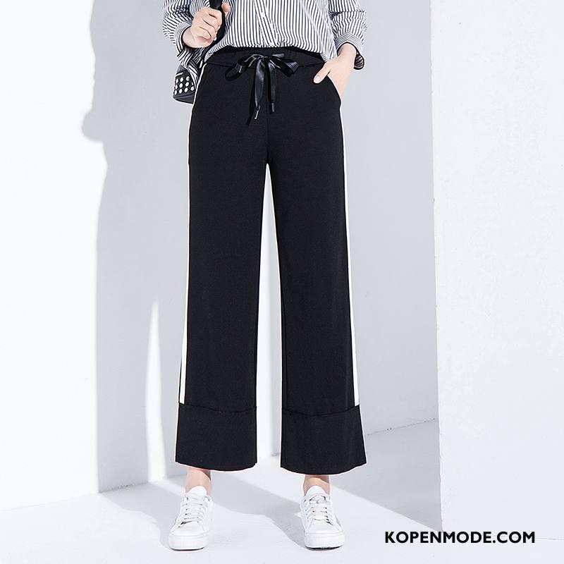 Broeken Dames 2018 Voorjaar Eenvoudige Mid Taille Comfortabele Slim Fit Effen Kleur Zwart