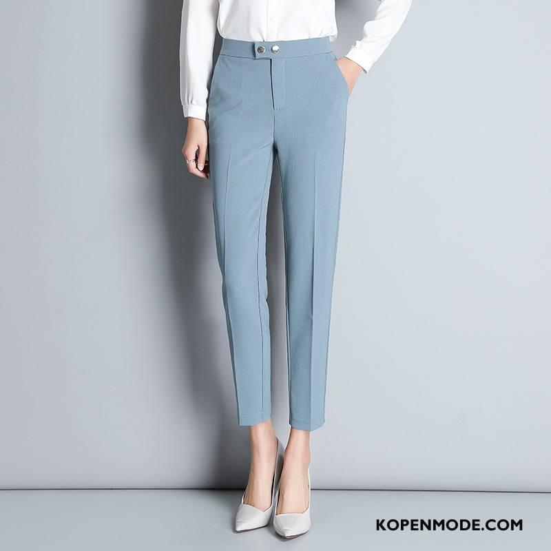 Broeken Dames Elegante Mid Taille 2018 Zoet Voorjaar Mode Lichtblauw Effen Kleur
