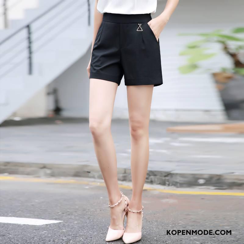 Broeken Dames Hoge Taille Eenvoudige 2018 Korte Broek Zomer Mode Zwart